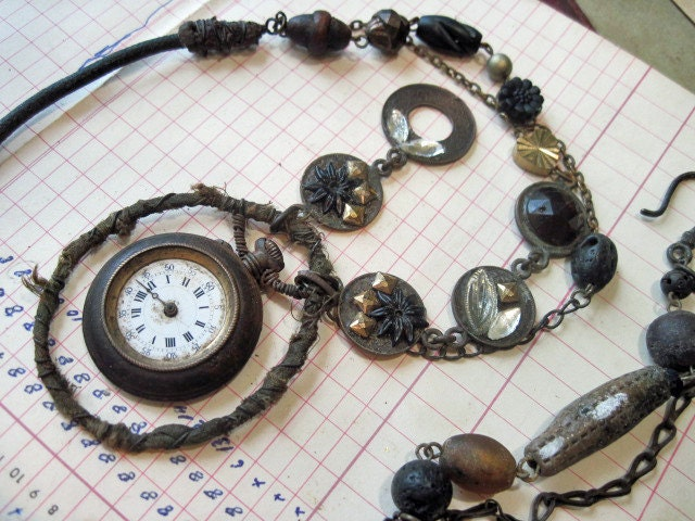 Each Moment's Sickle. Tribal Steampunk Assemblage Necklace.