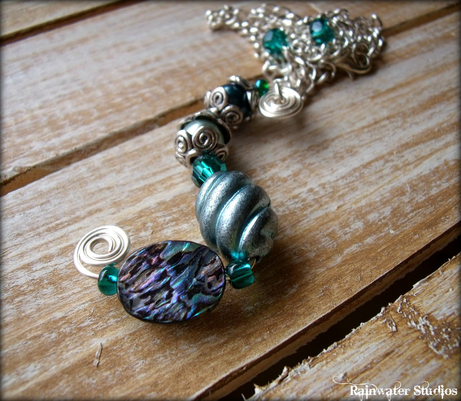 By The Sea Collection - Swirls & Abalone Pendant - Abalone, Swarovski Crystals, Free Shipping - RainwaterStudios