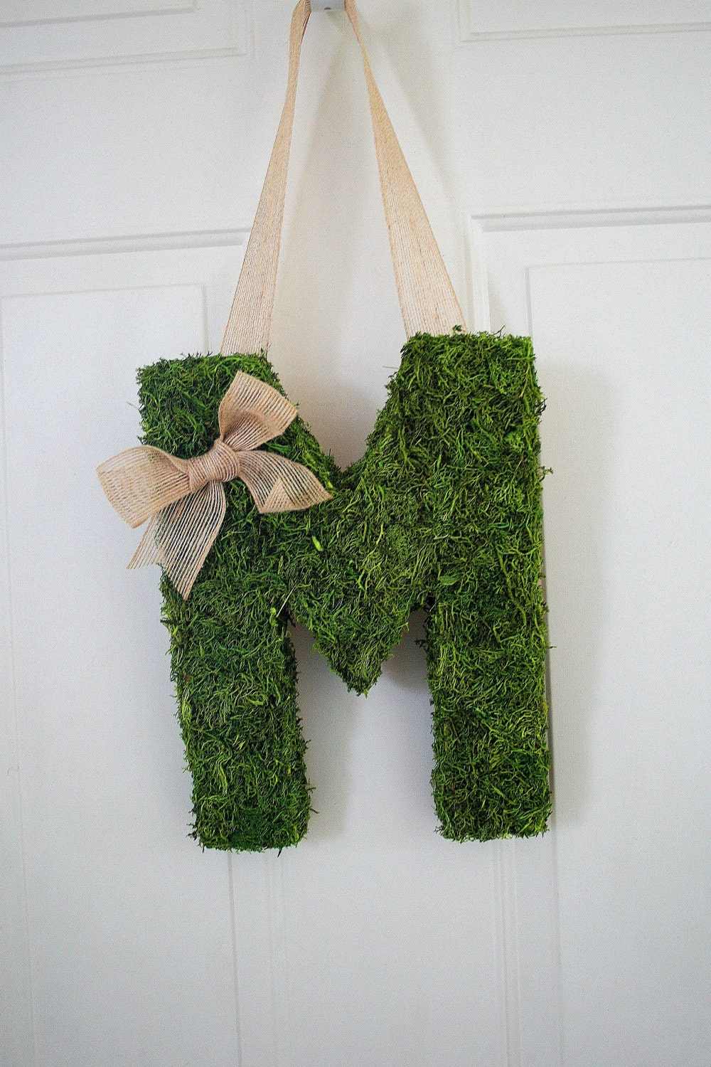 Moss Covered Monogram Letter-Moss Covered Letter Initial Wedding Home Door