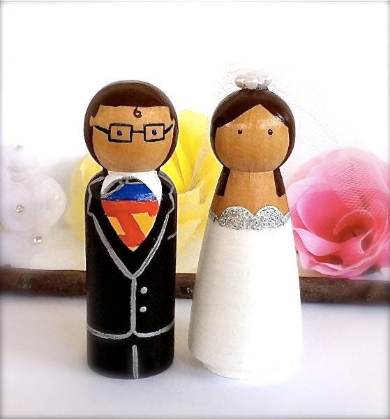 Superman Wedding Cake Topper Clark Kent Lois Lane Bride and Groom Superhero
