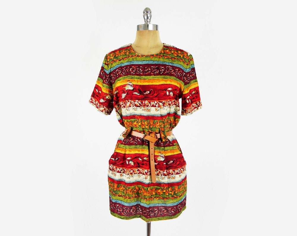 vtg 90s boho ethnic baroque PAISLEY STRIPED print BABYDOLL tunic shirt mini dress S M - trashyvintage