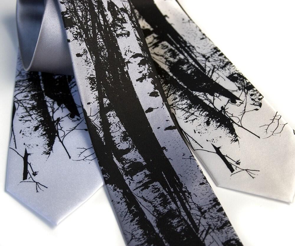 Birch Trees tie. Silkscreen design, microfiber necktie. Choose standard or narrow size. - Cyberoptix