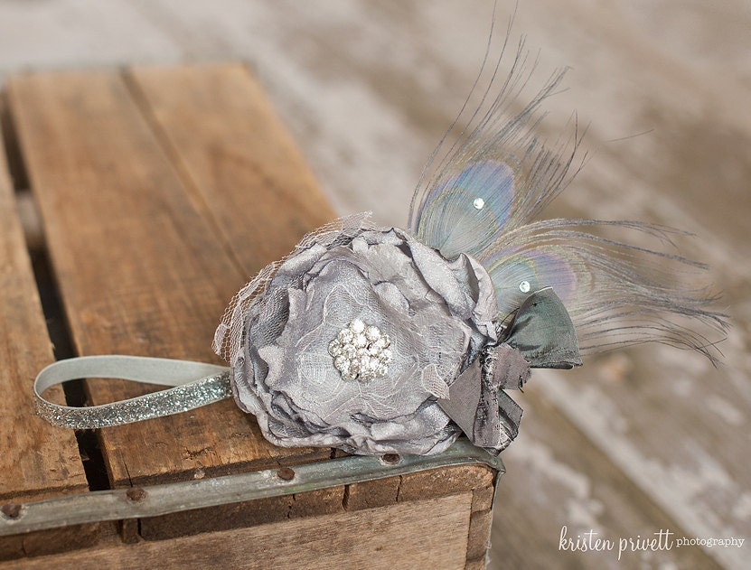 Gorgeous Silvery Grey Sparkle Handmade Flower Headband, Glitter elastic with Smokey Grey Peacock Feathers, Crystals and silks bow - HeavenlyAvonlee