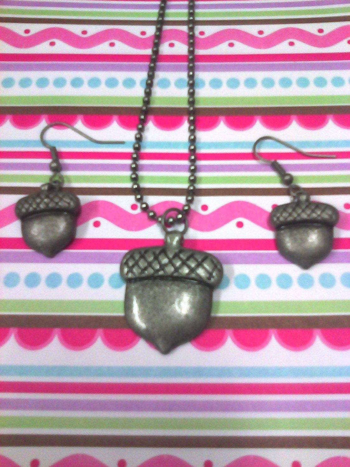 Acorn Necklace and Earrings Set
