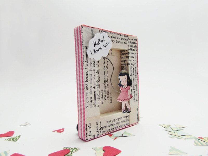 Handmade shadow box frame -Love in Pink Stripes-
