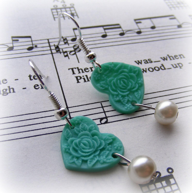 Earrings Vintage Rose Heart