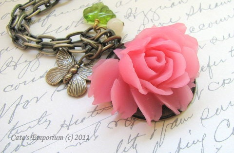 Pink Rose Necklace - Victorian Garden Necklace - Pretty in Pink - Butterfly - Lady Kateryn - VRBBoutique