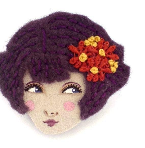 Embroidered felt brooch - Lily, Twenties fliratious flapper, Autumn, deep purple, rust red, woman face