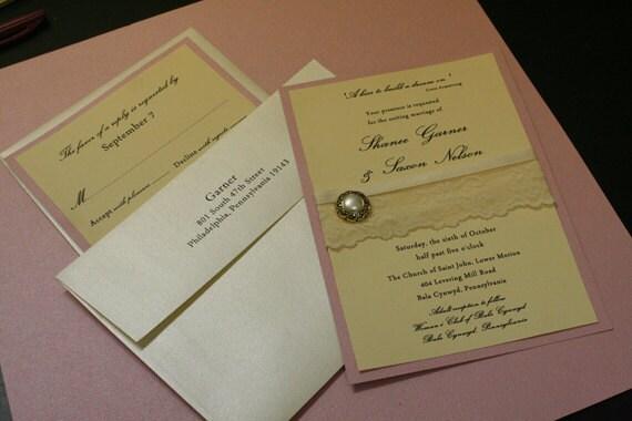 Vintage Wedding Invitation French Wedding Invitation and Response Card Set