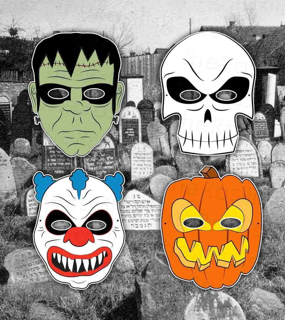 Halloween Masks Pick 5 and Save Printable PDF by theRasilisk from etsy.com