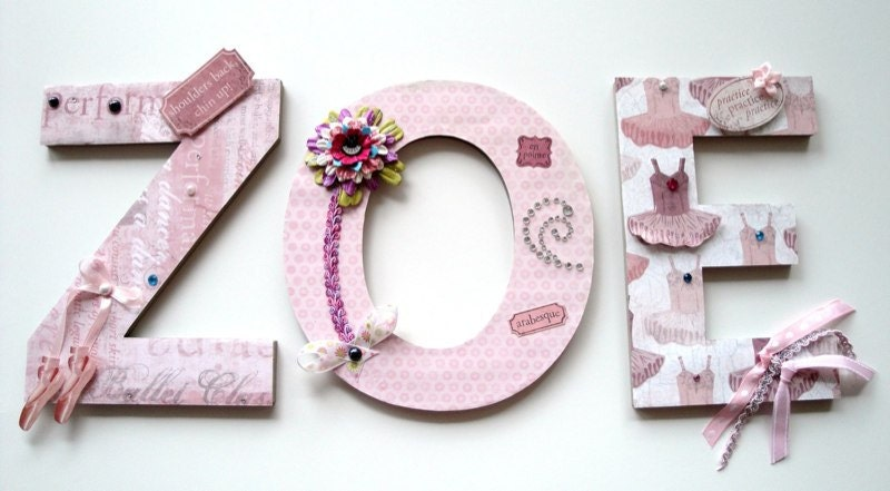 Baby Nursery Letters ,Girls Room Decor, Girls Wall Letters,Baby Shower .