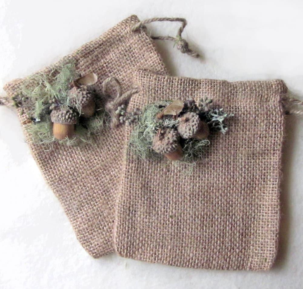 Christmas Burlap  2 Gift Bags, Rustic Christmas, Woodland Christmas, Woodland Wedding, Ready to ship - InTheBluebellWoods