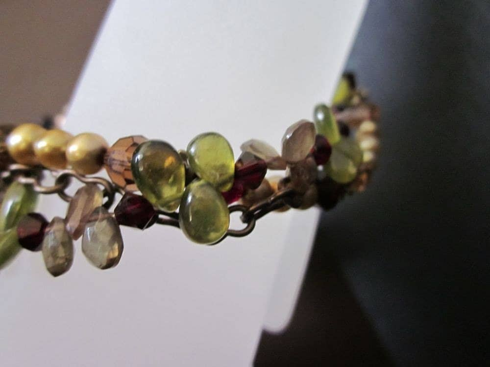 Artemis-Saki Shibuichi Toggle, Vessonite, Andalusite, Freshwater Pearls, Swarovski Crystals, Antiqued Brass Bracelet