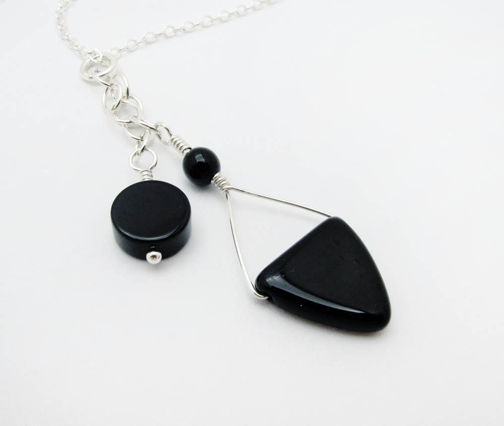 Mod black onyx dangle geometric sterling silver and Czech glass triangle necklace - SharonClancyDesigns