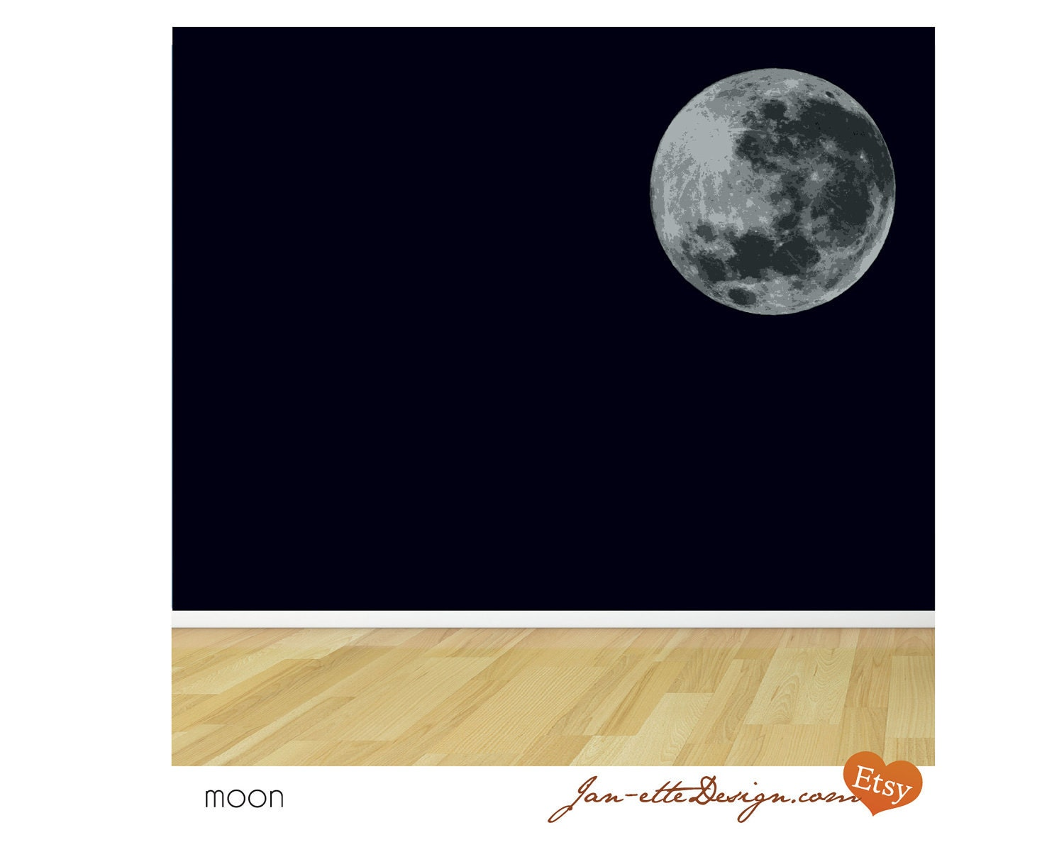 Full Moon Fabric Wall Decal - JanetteDesign
