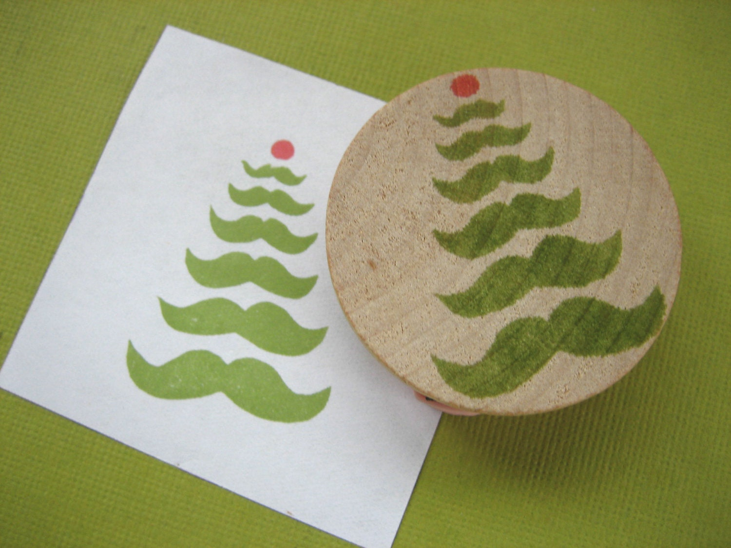 Mustache Christmas Tree Rubber Stamp, Hand Carved - DrumChickDesigns