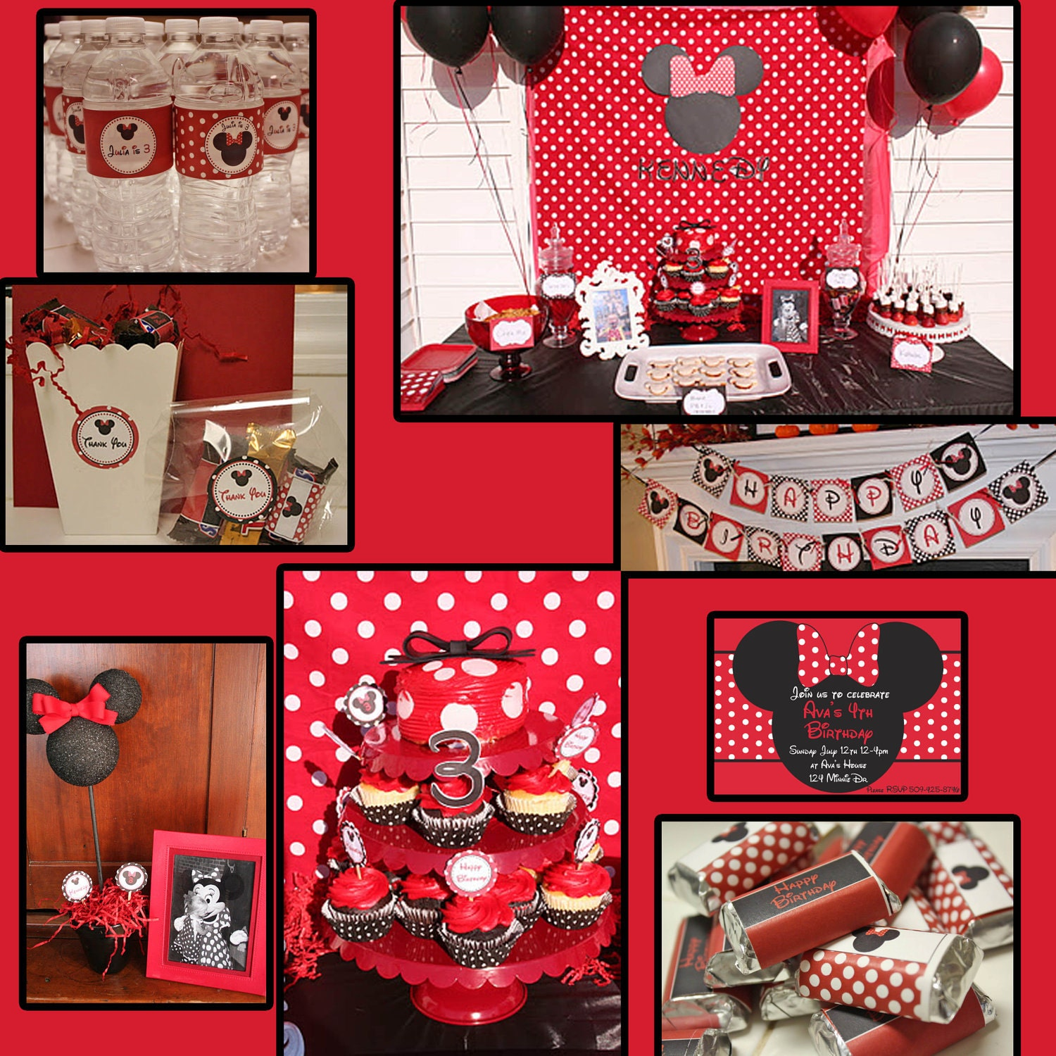 Minnie Mouse Birthday Decorations Red And Black Image
