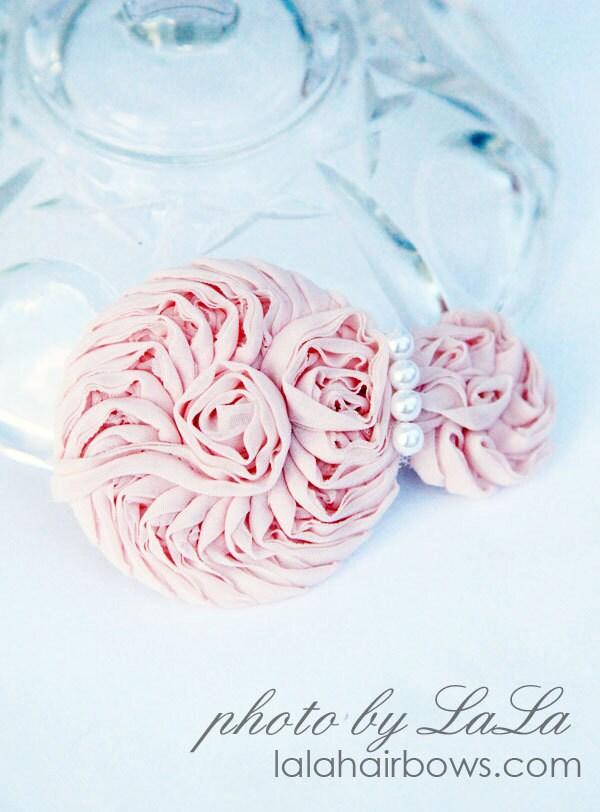 """Цветочный зажим для волос """"Елизавета""""-розовый"""