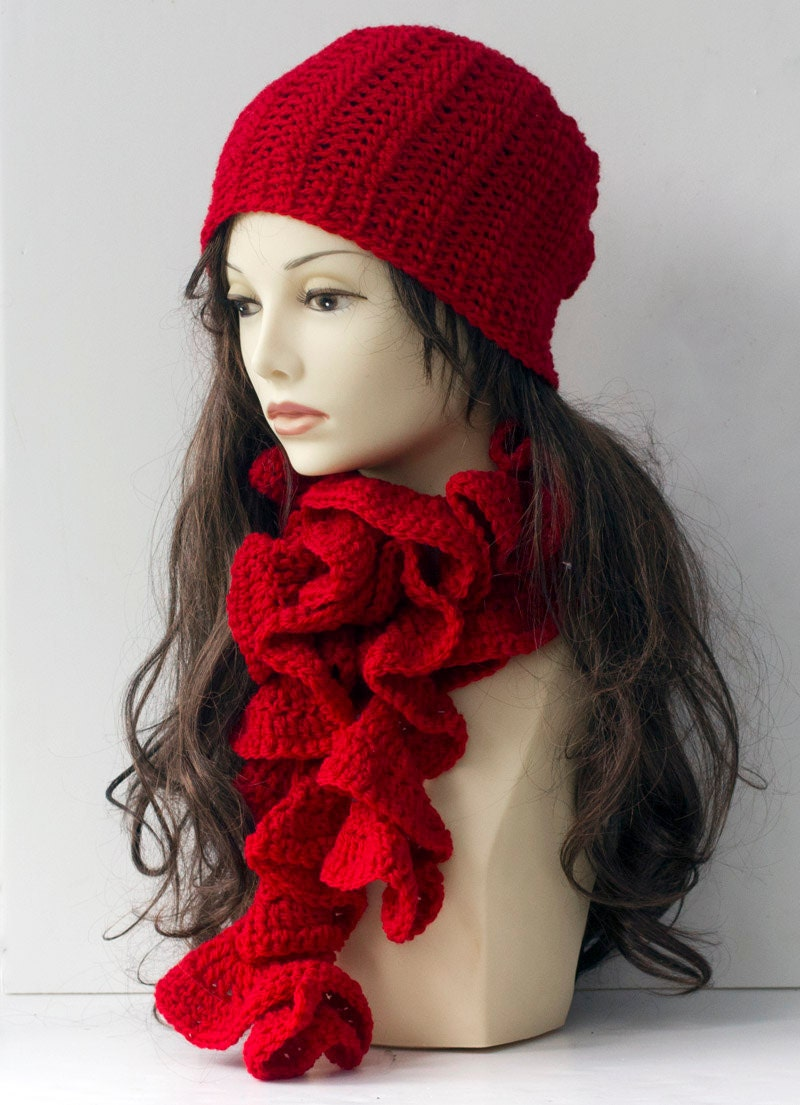Womans Hat Scarf Set Crochet Slouchy Hat and Ruffled Scarf Red  Crochet Scarves And Hats