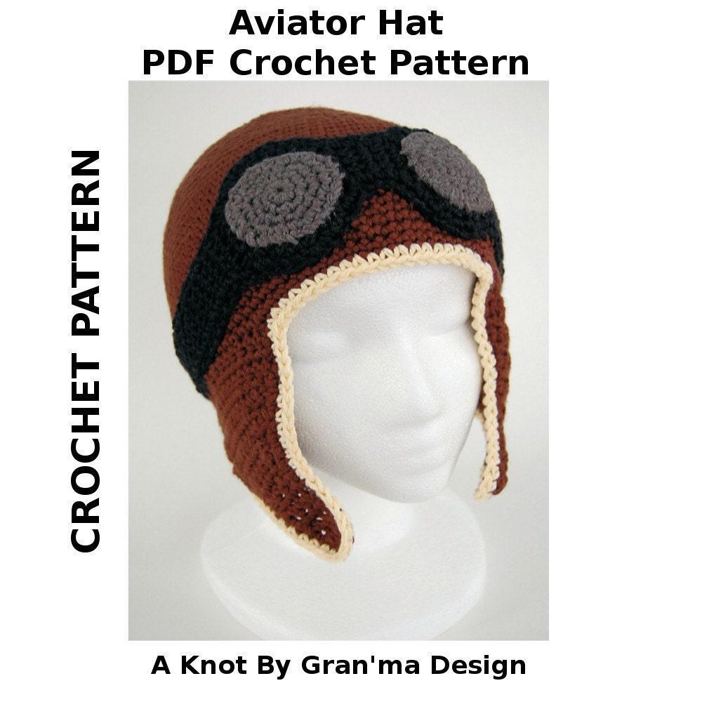 Aviator Hat - PDF Crochet Pattern - knotbygranma