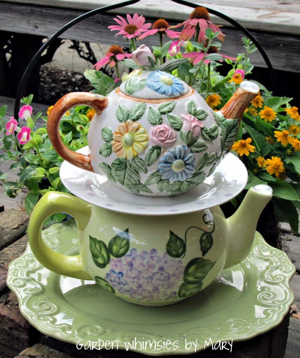 Garden Totem Centerpiece Floral Teapots - As Featured In Valley Homes & Style Magazine - GardenWhimsiesByMary