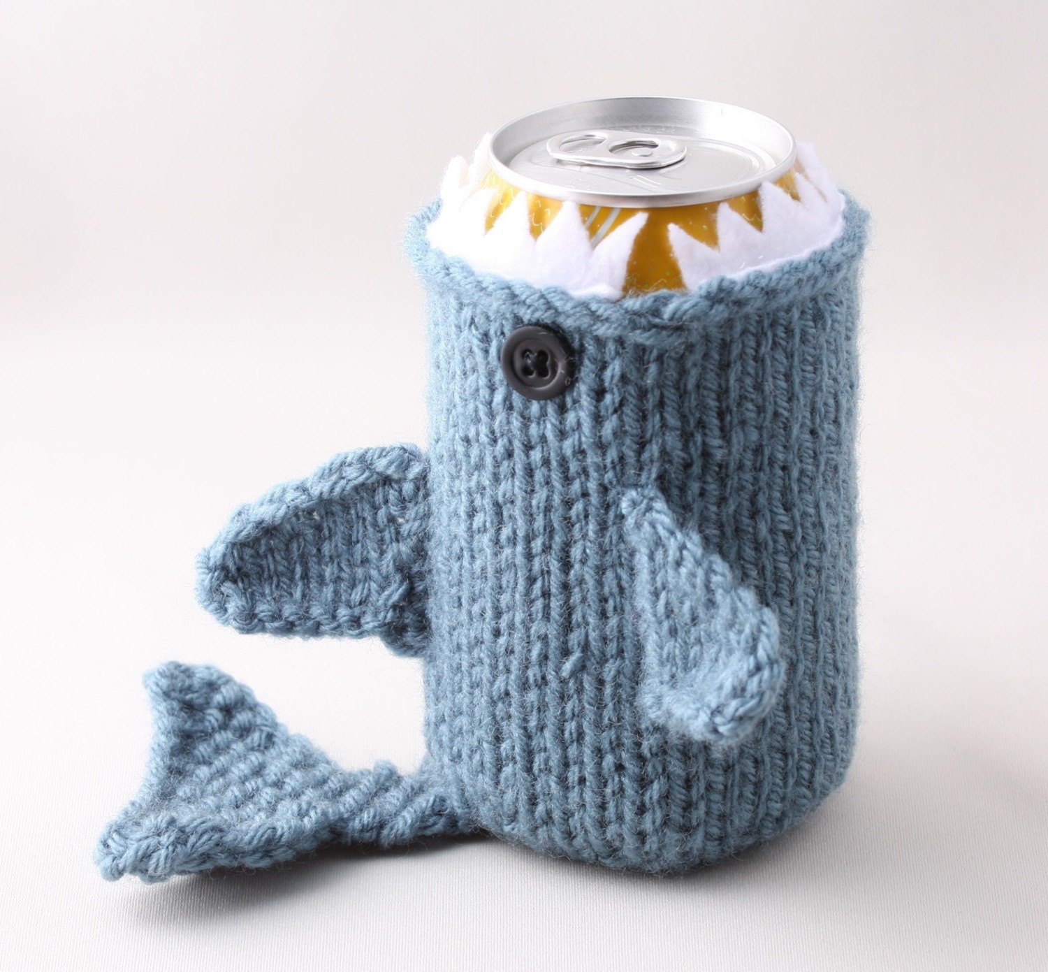 Monster Shark  - Dusty Blue- for your  Soda Can- was featured in ImbibeMagazine.com