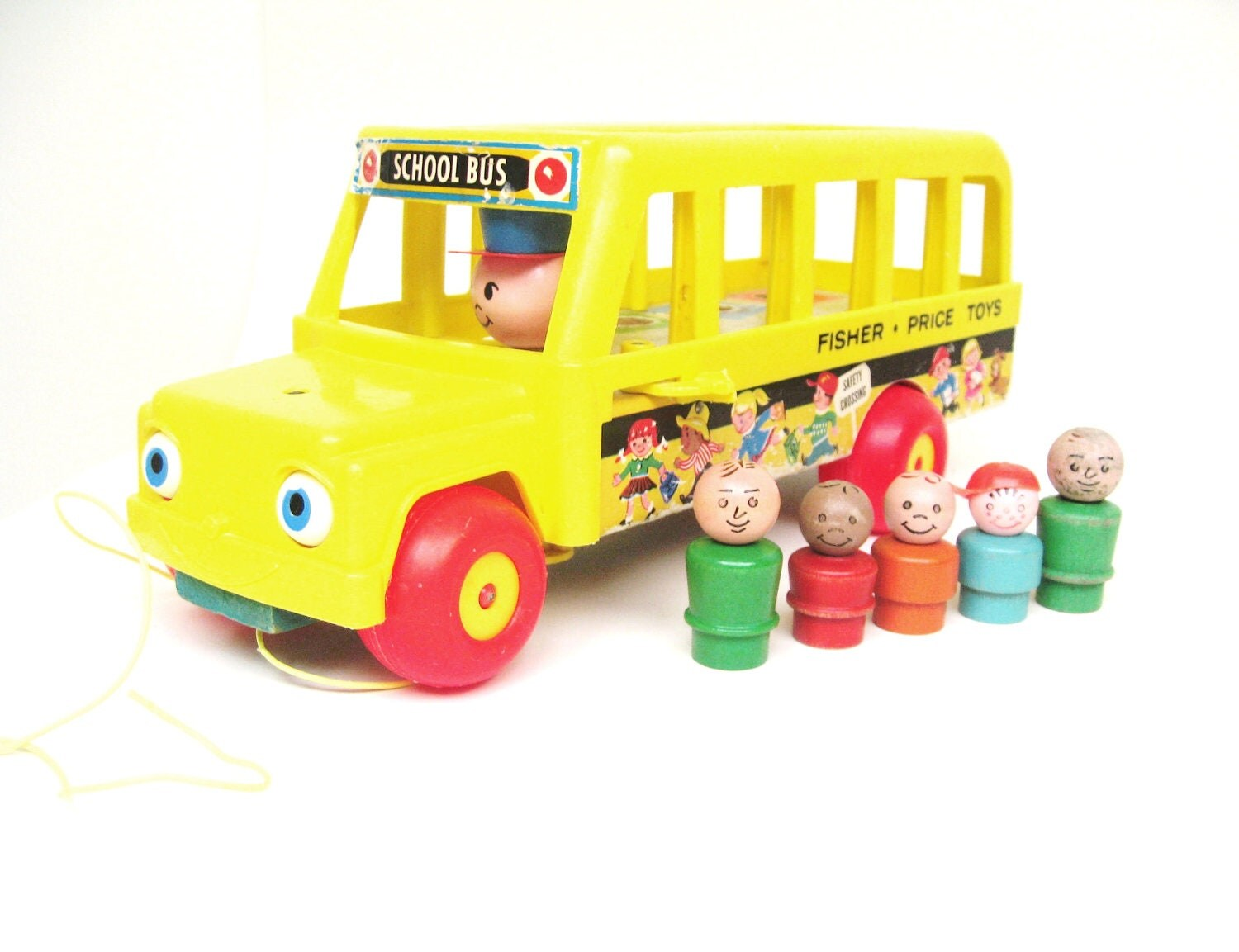Vintage Fisher Price School Bus with Passengers - toysofthepast
