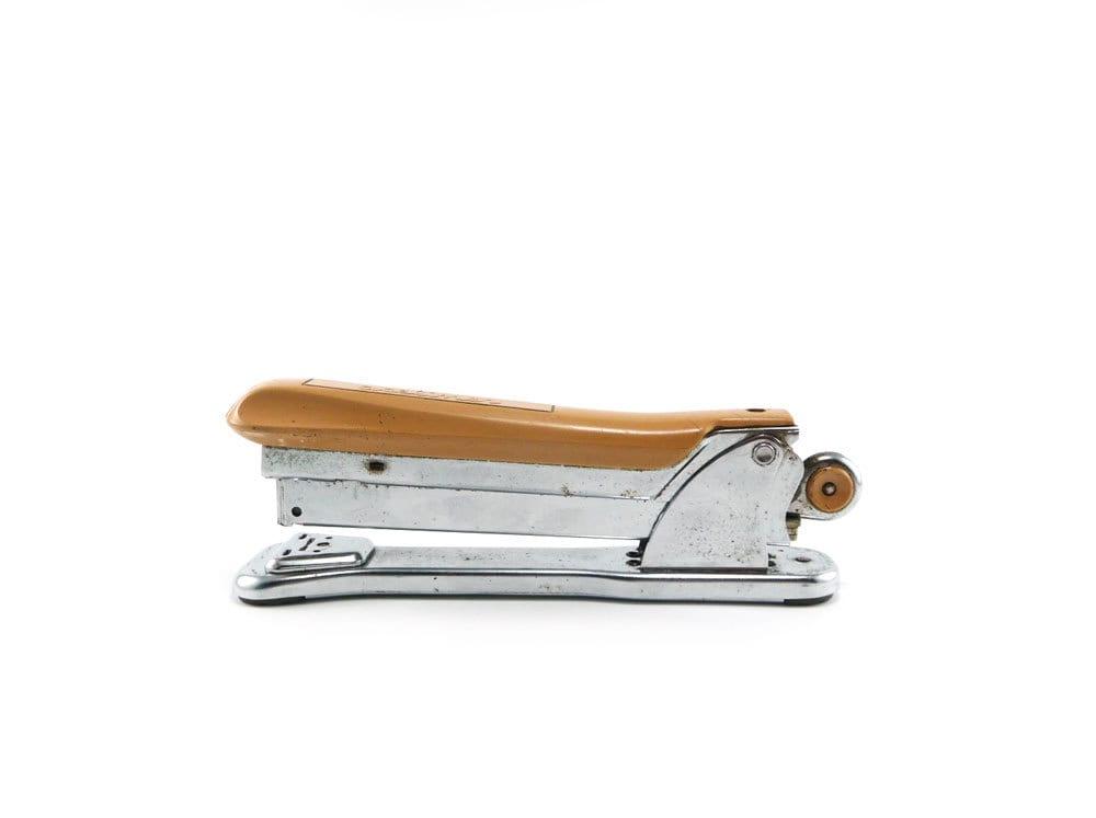 Vintage Aceliner stapler - camel & chrome - reconstitutions