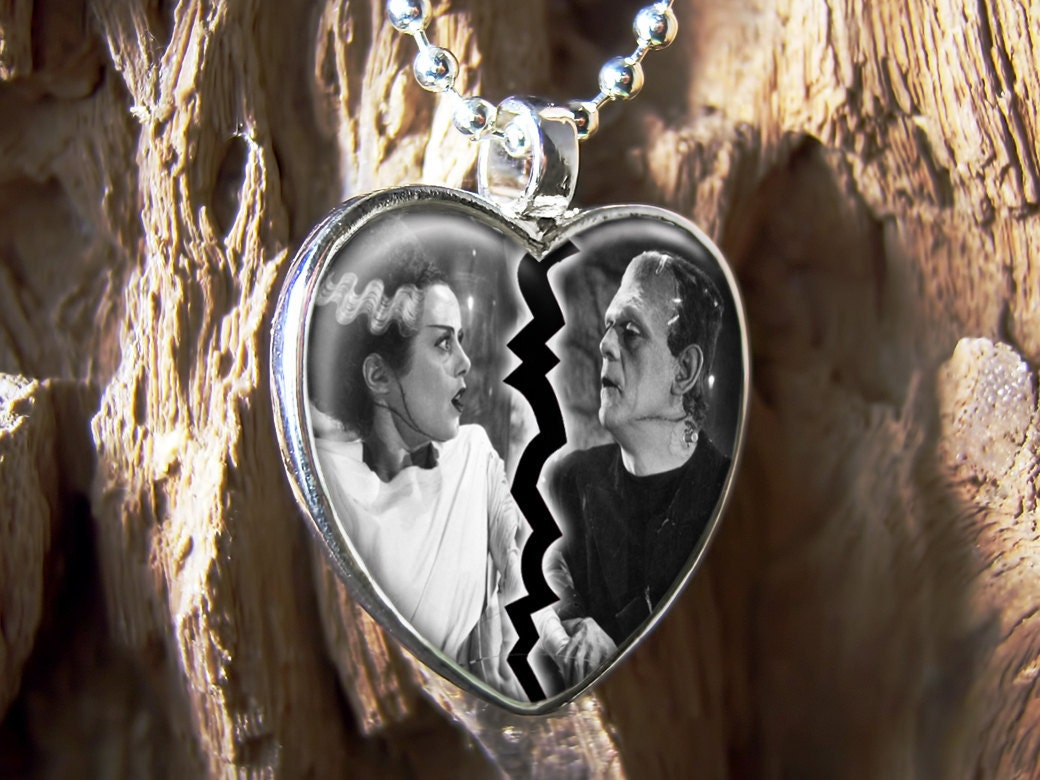 Frankenstein & Bride Heart Horror Glass Necklace 157-HF