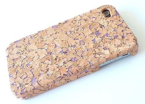 Purple Glitter CORK wood Case Cover for Apple iphone 4g/ iphone 4s Verizon