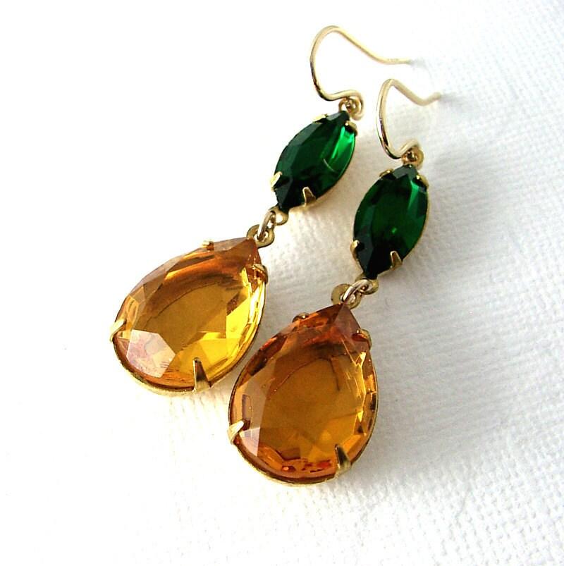 Topaz Green Earrings, Vintage Glass Jewels, 14K Gold Fill, Double Jewels - ZhivanaDesigns