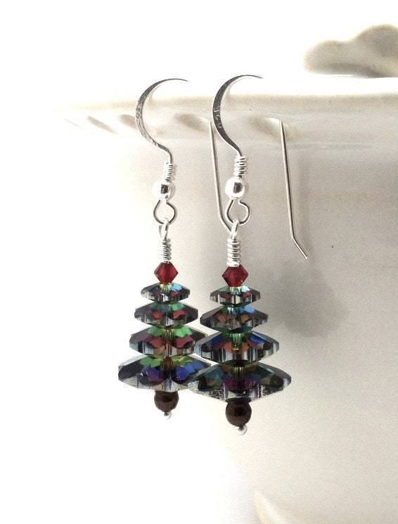 Christmas Tree Earrings, Swarovski Crystal