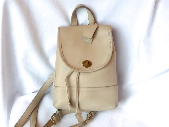 Vintage COACH Backpack Tote Bag in Cream Leather