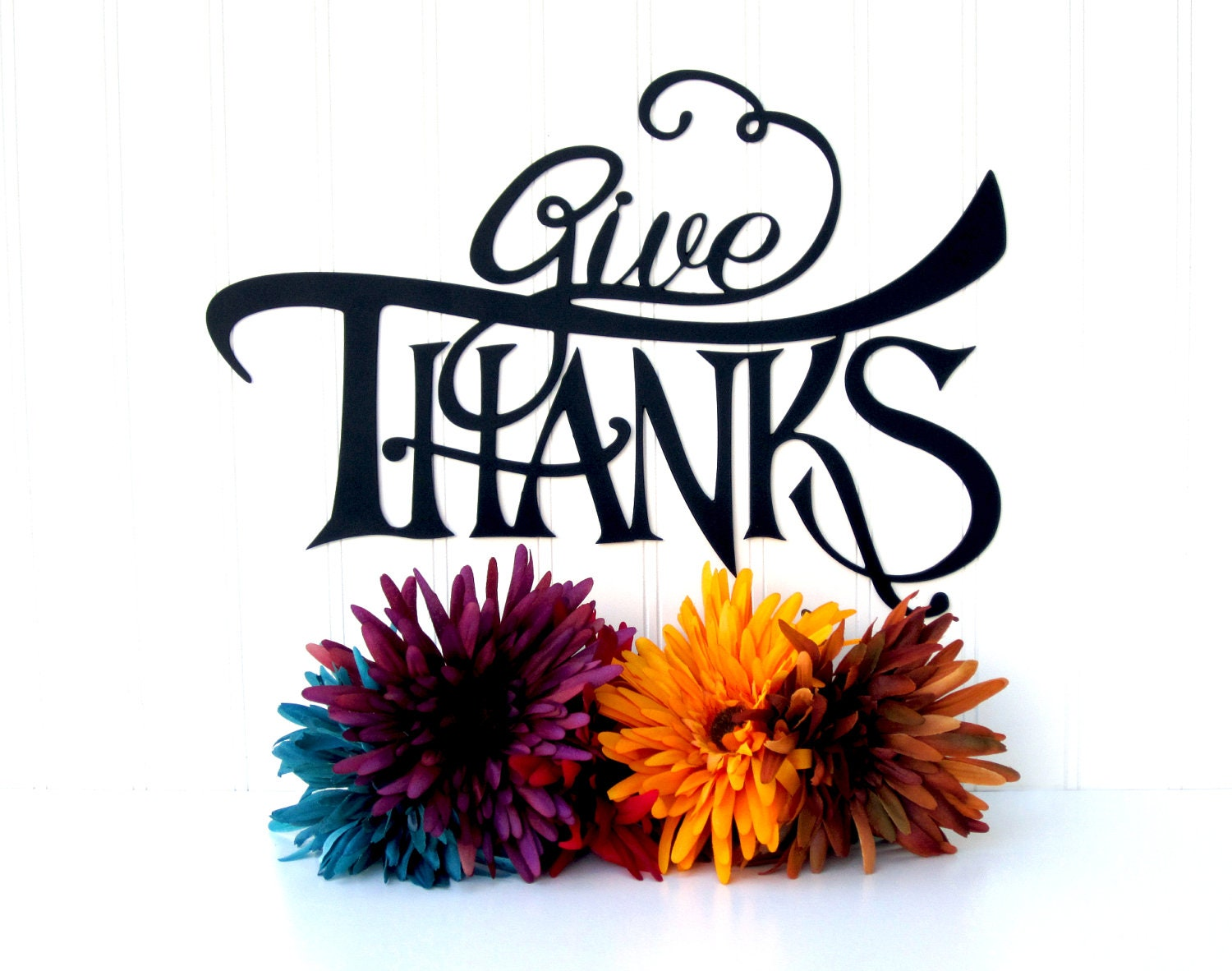 Give Thanks Metal Sign - Home Decor - RefinedInspirations