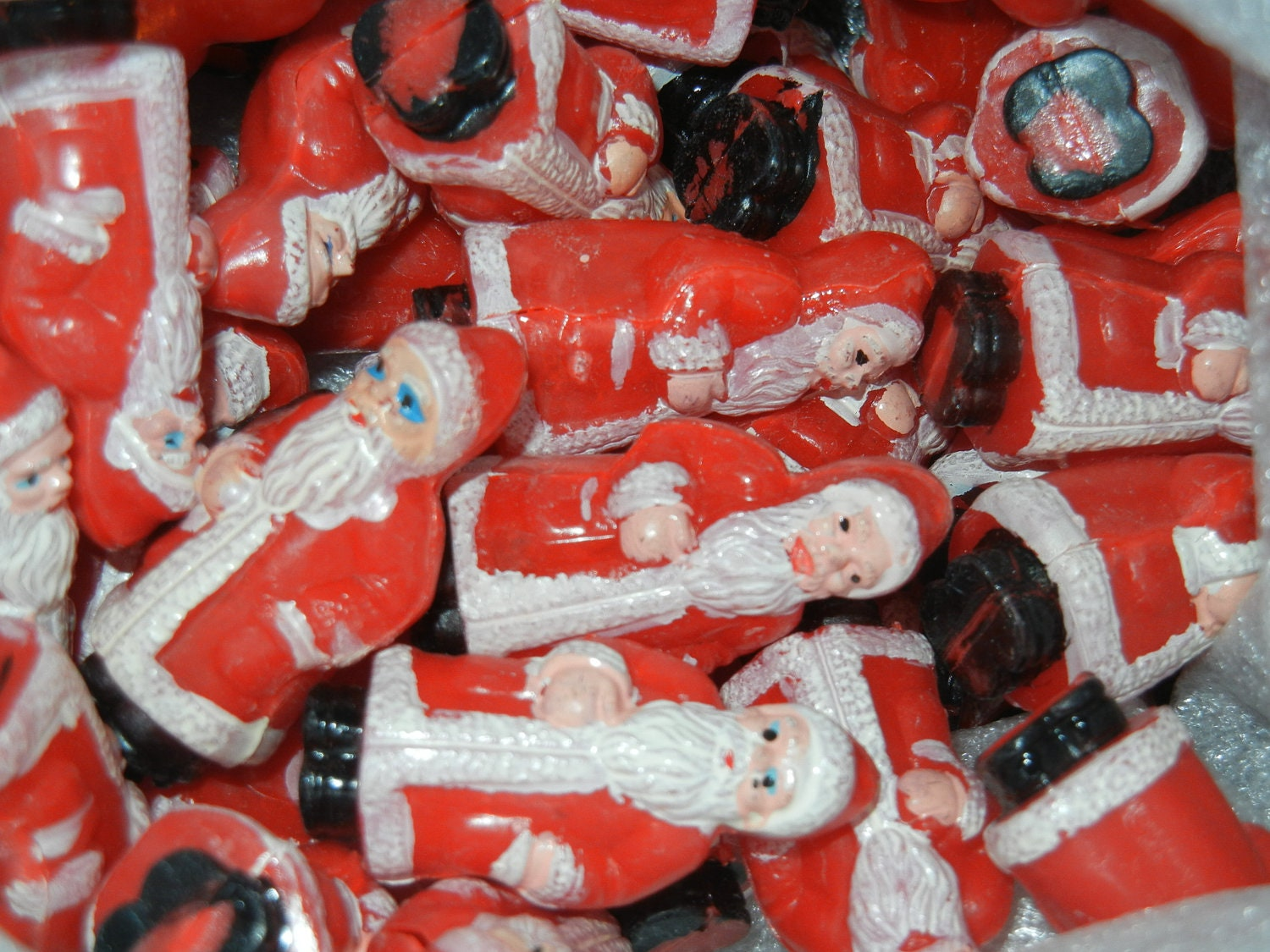 2 Vintage Tiny Old World Santa Claus Saint Nick Plastic Figures