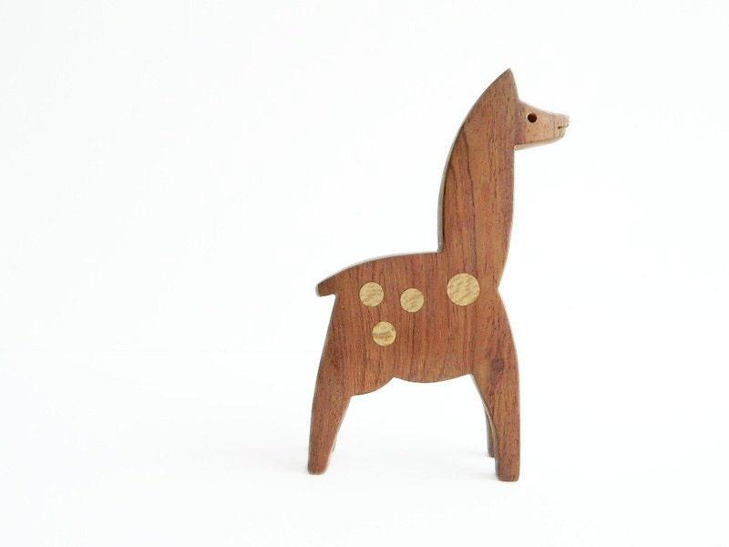Modernist wood alpaca or llama - MonkiVintage