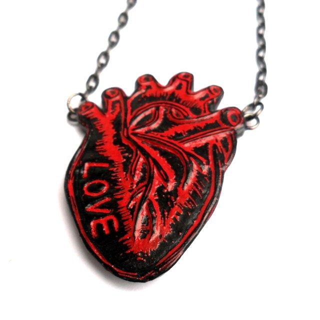 Red and Black Personalized Anatomical Heart Necklace  - Love in My Heart Necklace - Valentine's Day Gift - blockpartypress
