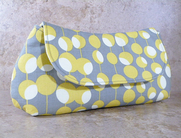 Clutch Bag - Grey Yellow and White Circles and Lines