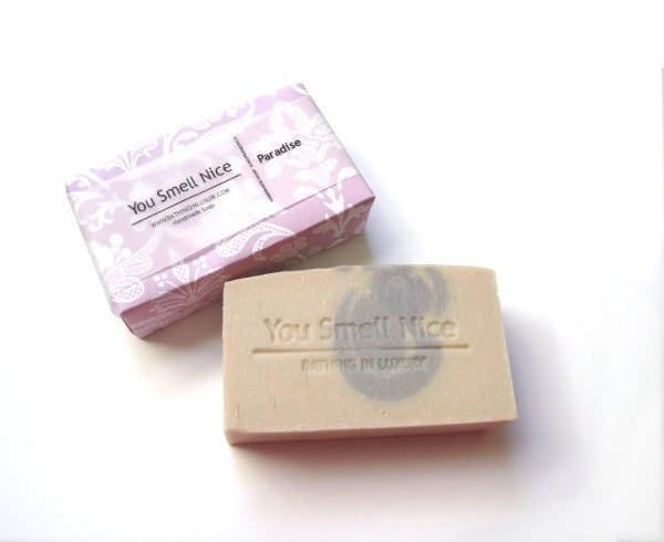 Paradise Soap - tropical floral for Mothers Day -  made from scratch by ME - Vegan - peach lavender with pink and white wrap - soap