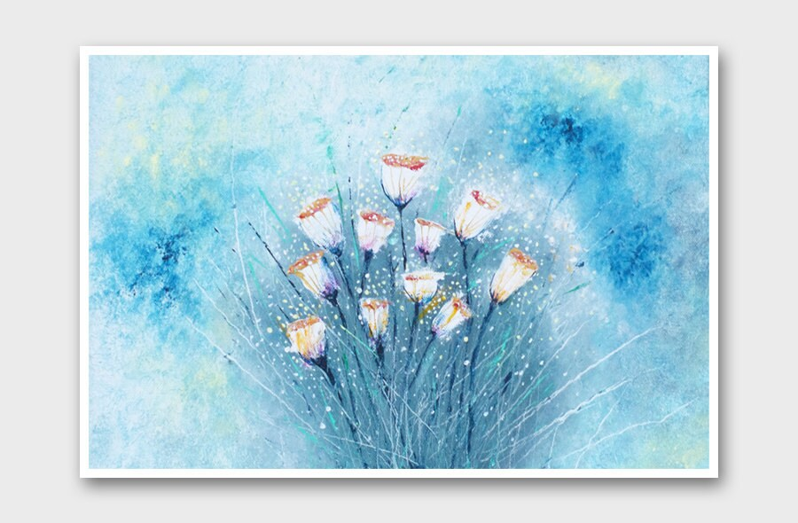 Pastel blue flower art print abstract floral print by for Light sky blue paint