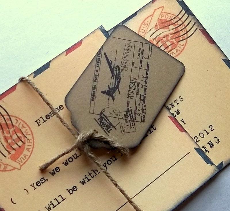 vintage wedding invitation suite Airmail air mail set of 15