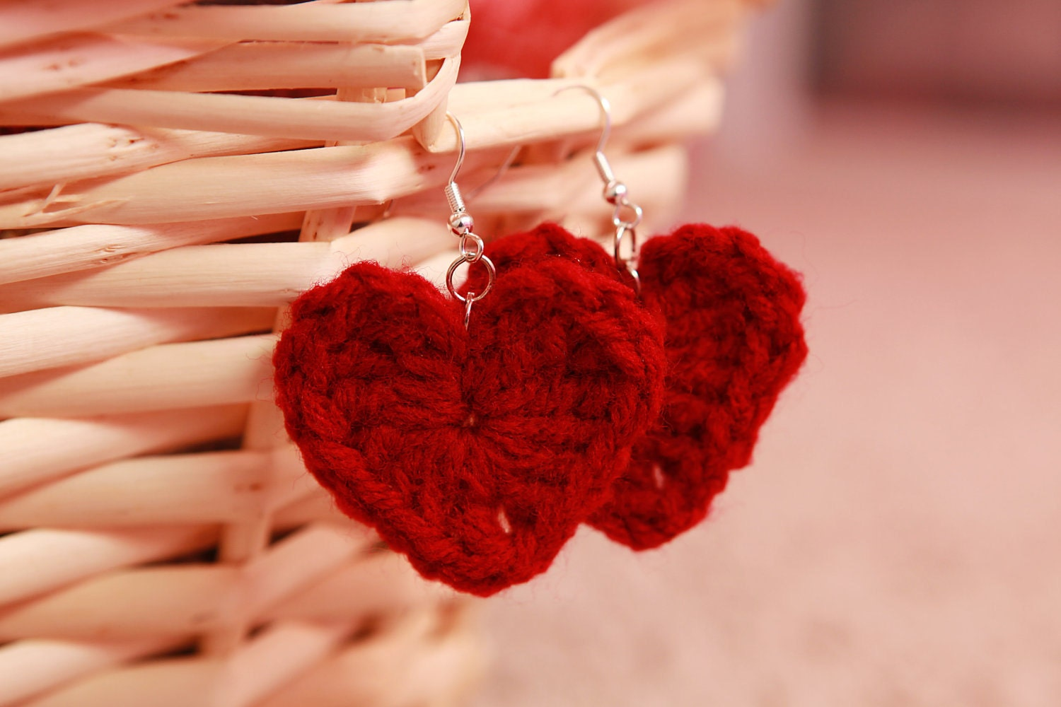 Crochet Red Heart Earrings