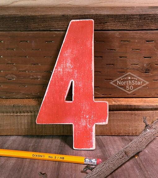 Vintage-style Rustic Red Wooden Number 4 - Northstar50