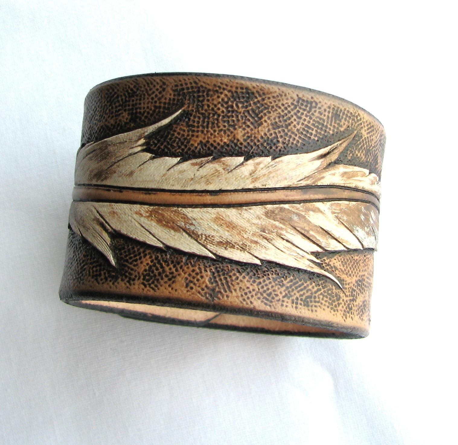 Flight of the Eagle - Hand Carved Leather Wristband - aosLeather