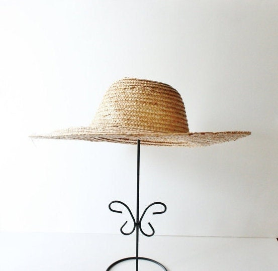 Vintage COUNTRY HARVEST Tan Straw Hat - Small - bluebutterflyvintage