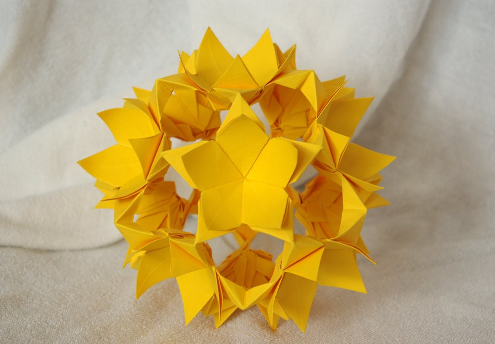 Yellow floral kusudama. Origami paper ball