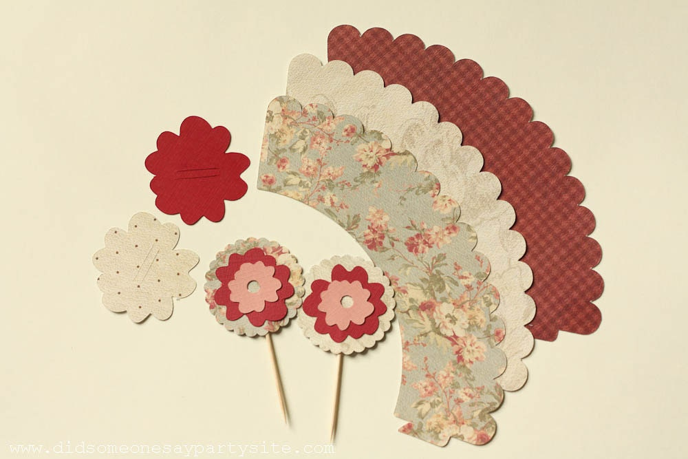 My Secret Garden Cupcake Wrappers, Cupcake Toppers and Straw Toppers - FREE SHIPPING