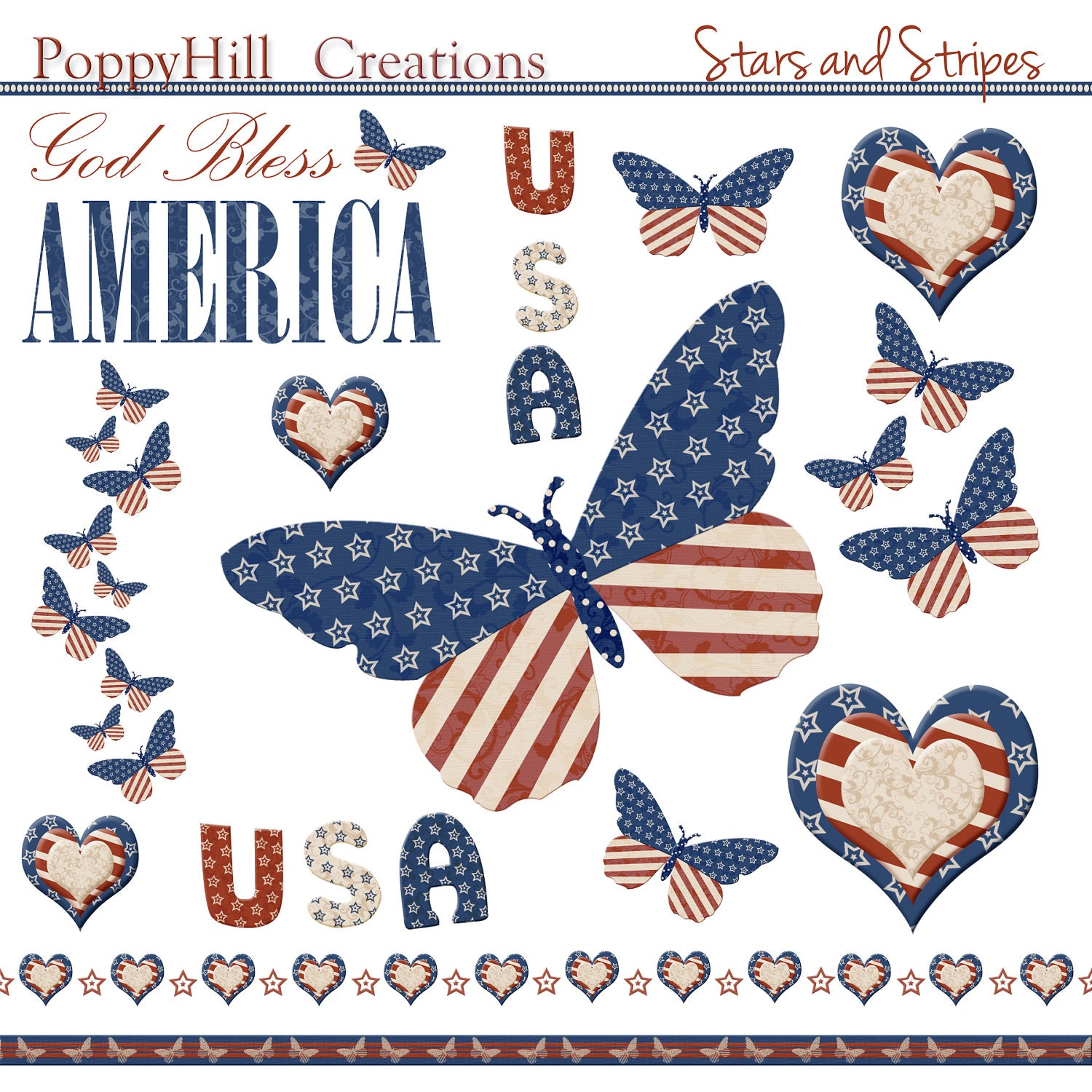 INSTANT DOWNLOAD - Stars and Stripes Patriotic Digital Clip Art Set - Red, White and Blue - For Personal and Commercial Use - PoppyHillCreations