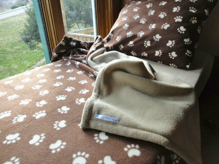 Twin Sized Bedding Boys & Girls Handmade Fleece Bed Set 'Cappuccino Paw Prints' (Ready to Make)