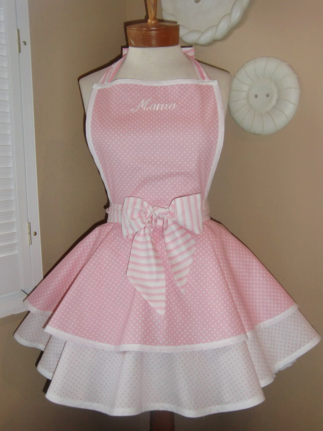 Pink dress for girl  CH strawberry milk color Pink dot charming ruffle apron  Ruffle